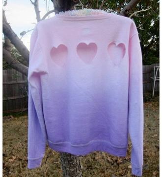 sweater pink blue purple heart cut out heart sweater