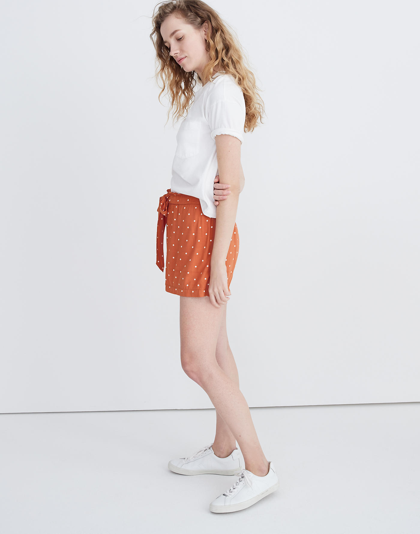 Drapey Pull-On Shorts in Polka Dot