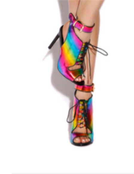 rainbow oil painting high high heels
