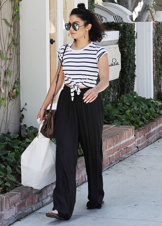 top pants crop tops stripes striped top vanessa hudgens sunglasses streetstyle