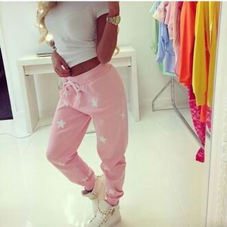 pants joggers pants sweatpants fashion shoes pink stars dope cute urban pastel pink