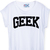White Short Sleeve GEEK Print Crop T-Shirt - Sheinside.com