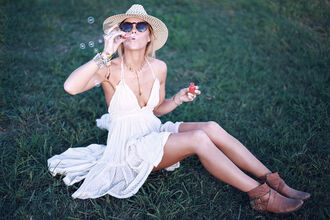 happily grey blogger dress ankle boots straw hat white dress