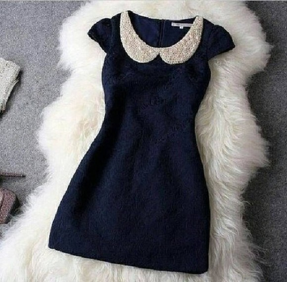 elegant pearls pattern fluffy navy blue dark blue
