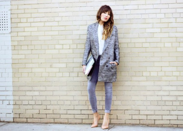 the marcy stop blogger coat jeans blouse bag shoes