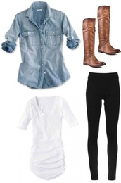 shoes,clothes,shirt,blouse,brown,boots,riding boots,brown leather boots,fall outfits,cotton,long tee,white t-shirt,denim shirt,top,t-shirt,jeans,denim,basic