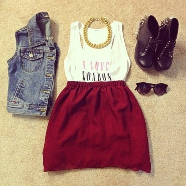 skirt red skirt short skirt shoes tank top i love london chain t-shirt women white top t-shirt love london jacket shirt dress red dress white dress winter outfits winter dress fall outfits fall dress london
