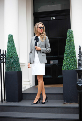 dress work outfits white dress office outfits blazer grey blazer fall outfits shoes sunglasses cat eye black sunglasses pointed toe pumps black pumps