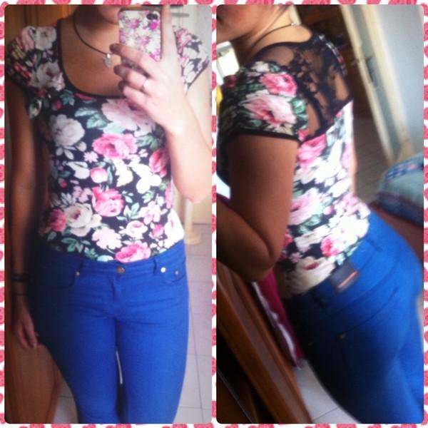 jeans shirt floral