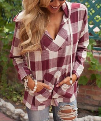 top hoodie plaid cute long sleeves fall outfits casual red white fashion style gingham v neck hooded drawstring dark red