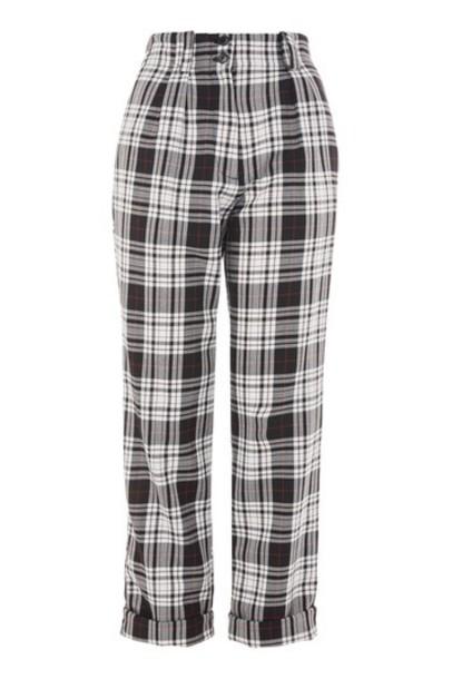 Topshop tartan monochrome pants