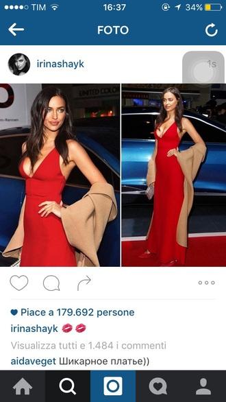 dress red dress long red dress maxi dress long dress night dress elegant dress elegant red carpet dress red carpet celebrity dresses irina shayk victoria's secret v.i.p red prom dress