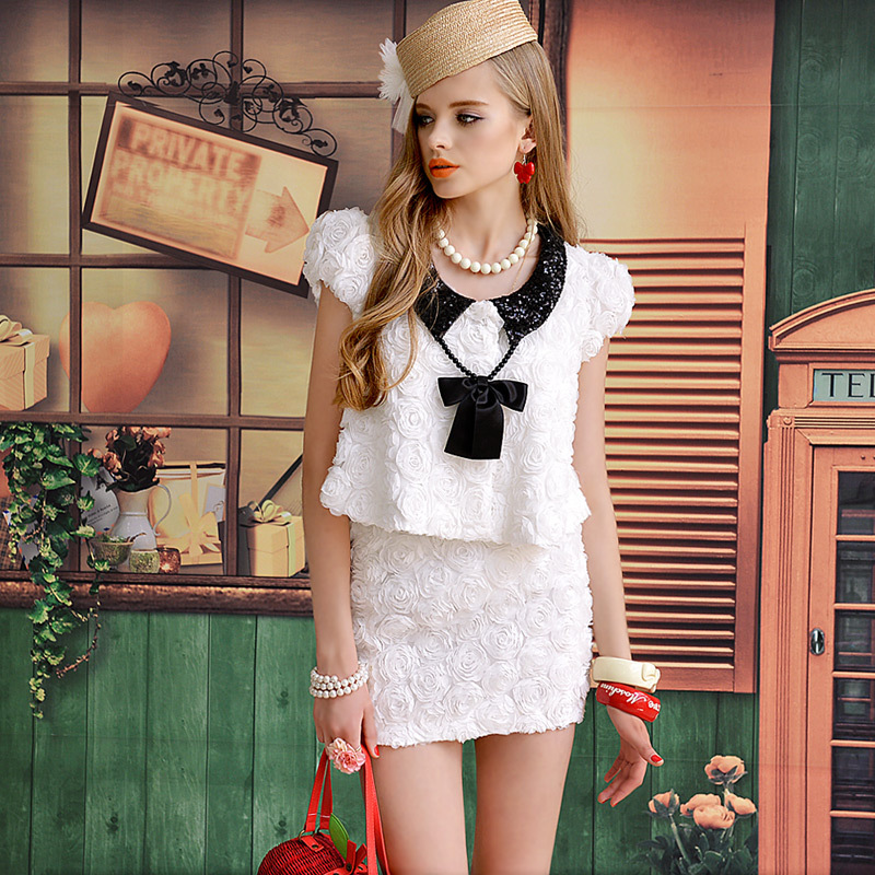 brand 2013 autumn white three dimensional flower black paillette cute outerwear-inBasic Jackets from Apparel & Accessories on Aliexpress.com