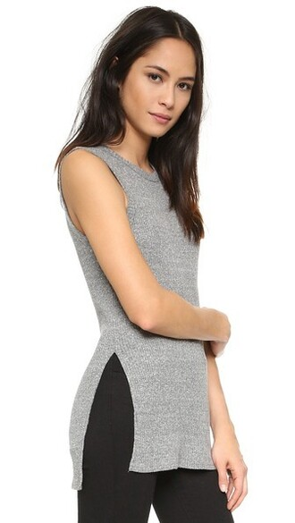 tunic sleeveless grey heather grey top