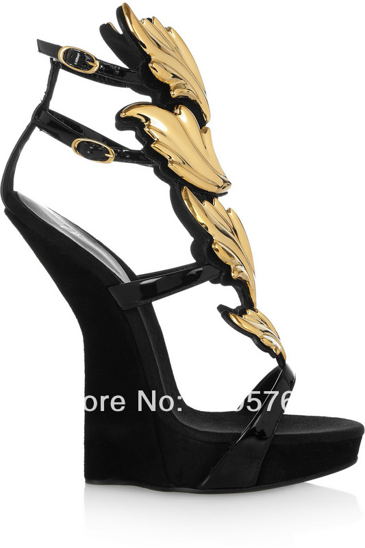 with box dust bag 100% brand new summer gz gold leaf sandals giuseppe real leather high heel zanotty womens wedding wedges shoes-in Sandals from Shoes on Aliexpress.com