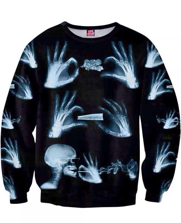sweater skeleton dope weed skeleton sweater jacket blunt xray skeleton shirt
