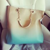 bag,leather bag,cream,blue,light blue,ombre,handbag,beige,chain,dip dyed,leather,gold,big purse,nude purse,cream bag,vanilla,white,dipped,luxury,heart,t-shirt,dress