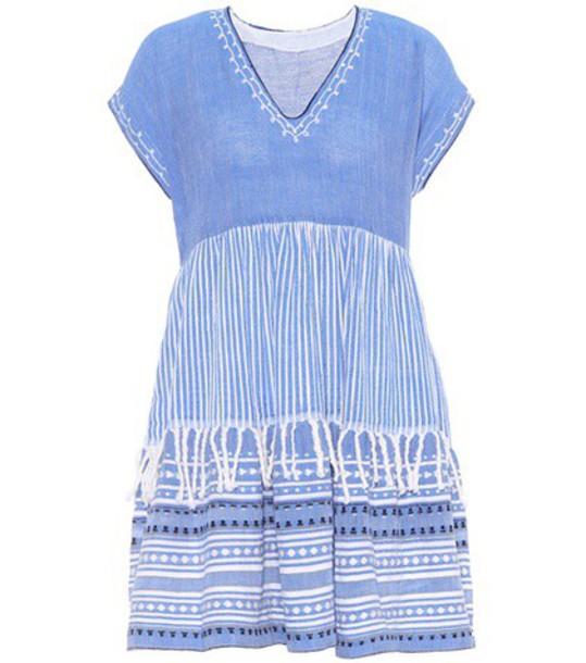 dress cotton wool blue