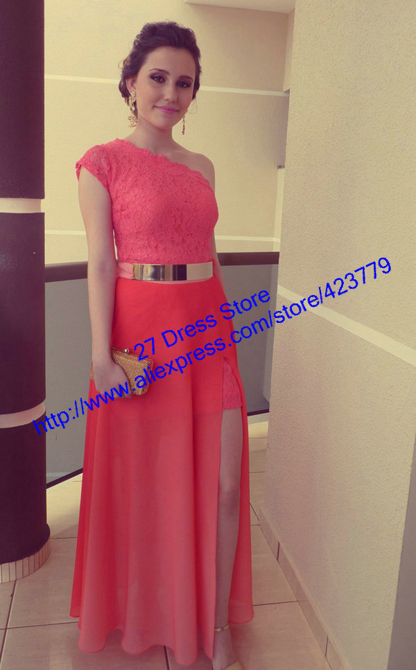 Aliexpress.com : Buy Charming Style Watermelon vestido de festa Floor Length Cap Sleeve One Shoulder Lace Prom Dresses 2014 from Reliable lace three quarter sleeve dress suppliers on 27 Dress