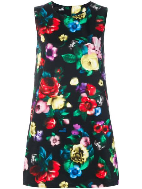 LOVE MOSCHINO dress women spandex floral cotton black