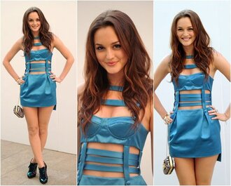 blue dress leighton meester sexy beautiful short dress party dress cut-out dress bandage dress