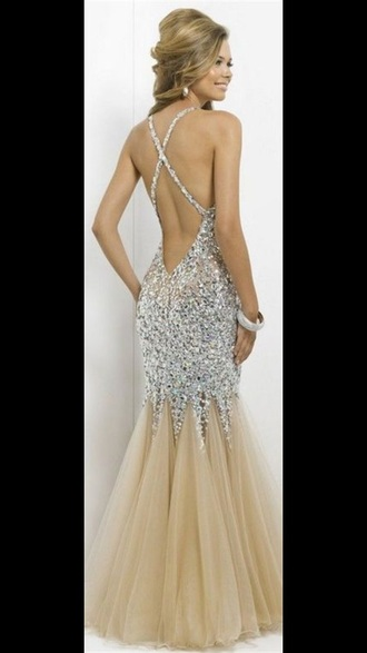 dress prom rose gold backless fishtail fashion