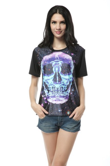 comfortable t-shirt women's fashion skull skull printed galaxy