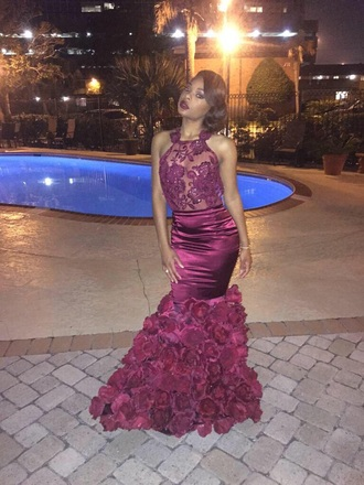 dress red burgundy floral lace prom mermaid black girls killin it prom dress flowers see through rose cute african american