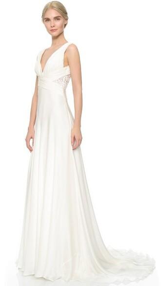gown chiffon white dress