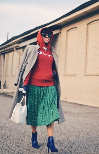 mysmallwardrobe blogger sweater skirt coat bag shoes sunglasses gloves champion red sweater hoodie green skirt midi skirt winter outfits grey coat pleated skirt bucket bag