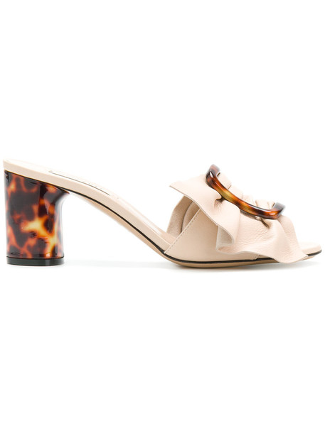 women shell mules leather nude shoes