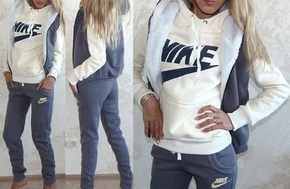 nike sportswear jumpsuit jacket 3piece three-quarter sleeves sweater hoodie tracksuit jumper pants sweatsuit