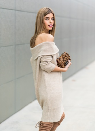 ms treinta blogger sweater dress leopard print bag animal print bag mini bag off the shoulder dress winter dress beige dress beige sweater mini shoulder bag