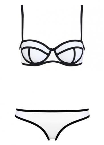 Strap design top match thong white bikini