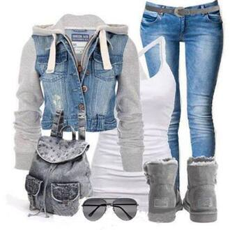 jacket denim jacket gray uggs aviator sunglasses bookbag jean bookbag white tank top outfit