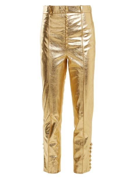 leather gold pants