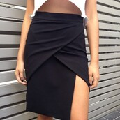 clothes,tumblr clothes,skirt,shirt,black,wrap,tight,high waisted,maxi skirt,slit,slit skirt,black skirt,thick material,side slit,side slit maxi skirt,folded skirt,high waisted skirt,asymetrisk,asymmetrical,classic,classy,mini skirt,mini dress,asymmetrical skirt