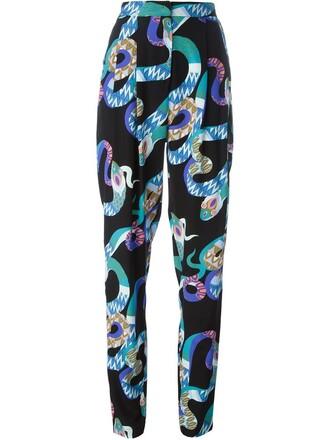 snake women print blue silk snake print pants