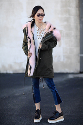 fit fab fun mom,blogger,sweater,coat,jeans,shoes,sunglasses,jacket,jewels,tank top,bag,parka,green coat,cropped jeans,lace up jumper,platform shoes,hooded winter coat