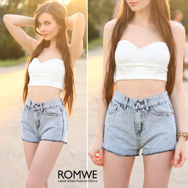 ROMWE | White Lace Bandeau, The Latest Street Fashion