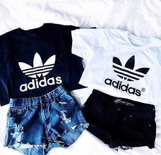 shirt adidas black white