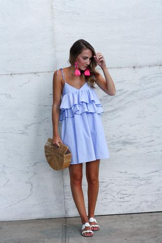 twenties girl style blogger jewels bag shoes sandals cult gaia bag blue dress summer dress summer outfits