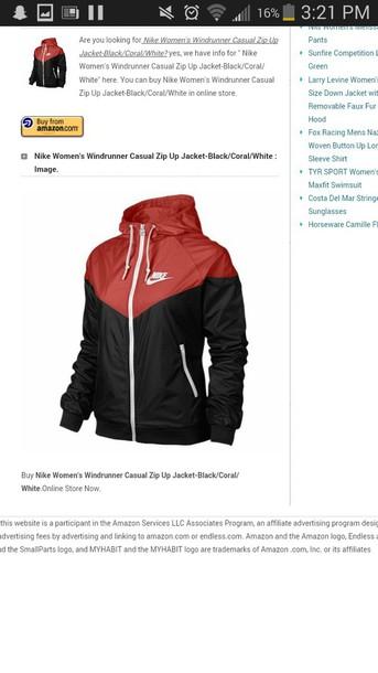 jacket red black white nike windrunner