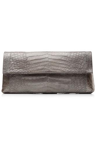clutch crocodile silver bag