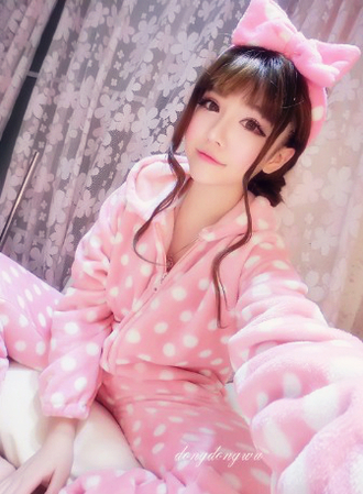 polka dots pajamas fleece onesie