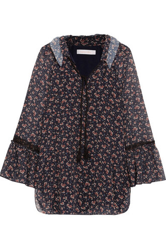 blouse lace floral navy print top