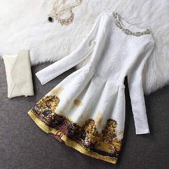 dress skater long sleeved white patterned.   dress wallet necklace details white dress dress with details dress with necklace
