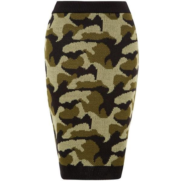 Parisian Khaki Camouflage Knitted Midi Skirt - Polyvore