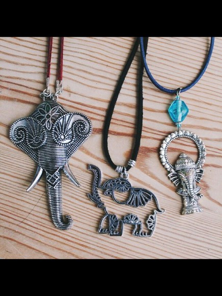 elephant jewels cute necklace