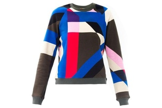 sweater print multi colorful shapes